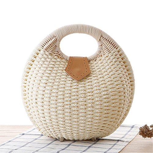 Playa N White Nest Vintagge Handbag Rattan De Snail's De Lady Mujeres Bolso Bolsas De White Straw Bag Verano Manualbages Punto Femenina Ss3017 Handmade F58xfwq4n