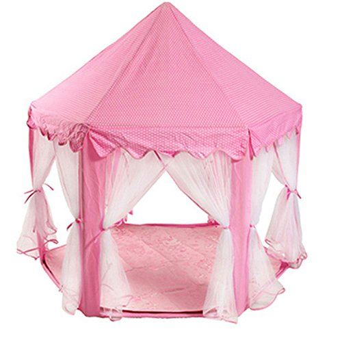 Tenozek Princess Castle Play House Large Outdoor Kids Play Tent for Girls Pink by Tenozek (Image #3)