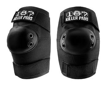 Skateboard Roller Derby Pro Knee Pads black 187 Killer Pads white caps