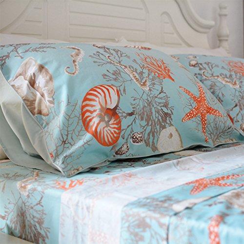 (Brandream 100% Egyptian Cotton Pillowcases Set of 2 Nautical Themes Seashell Pattern Pillowcase Standard Size 800 Thread Count)