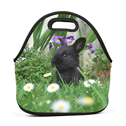 (BAWFLW Black Rabbit Neoprene Lunch Bags Picnic Lunch Tote Bag Boxes for Kids Adults Women Men)