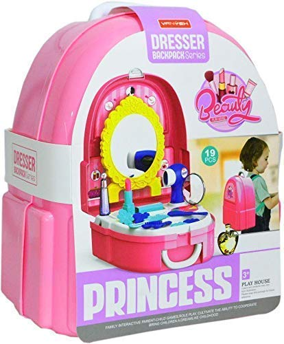 Fossils Dresser Backpack Play Set, Pretend Play Dress Up Suitcase Makeup Toys Kit-Set of 19 Pieces (Pink)