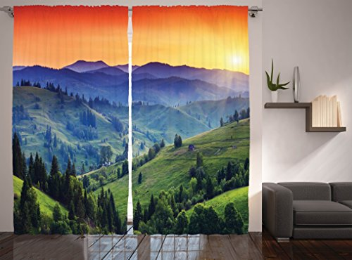 Ambesonne Country Decor Collection, Sunset in the Mountains Landscape and European Countryside Picture Print, Window Treatments, Living Kids Girls Room Curtain, 108 X 84 Inches, Orange Green Blue