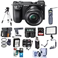 Sony Alpha a6500 Mirrorless Digital Camera Body with 16-50mm f/3.5-5.6 OSS Zoom Lens - Bundle with 64GB SDXC U3 Card, Holster Case, Spare Battery, Tripod, Video Light, Shotgun Mic, and More