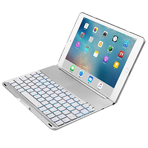 Sammid iPad Pro 10.5 Bluetooth Keyboard Case, 7 Color Backlit Keyboard Cover Case with 130 Degree Swivel Rotating for iPad Pro 10.5 inch - Silver ()
