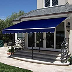 Garden and Outdoor Best Choice Products 98×80-inch Retractable Aluminum Polyester Patio Sun Shade Awning Cover w/UV- & Water-Resistant… patio awnings