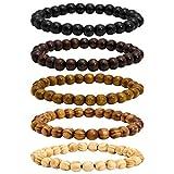 MILAKOO 5 Pcs 8mm Wood Beads Bracelet for Men Buddha Bracelet Elastic