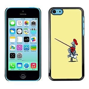 Qstar Arte & diseño plástico duro Fundas Cover Cubre Hard Case Cover para Apple iPhone 5C ( Knight Warrior Funny Caricature Rocking Horse)