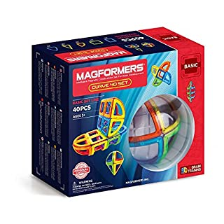 Magformers Curve (40 Piece) Set Magnetic Building Blocks, Educational Magnetic Tiles Kit , Magnetic Construction STEM Toy Set