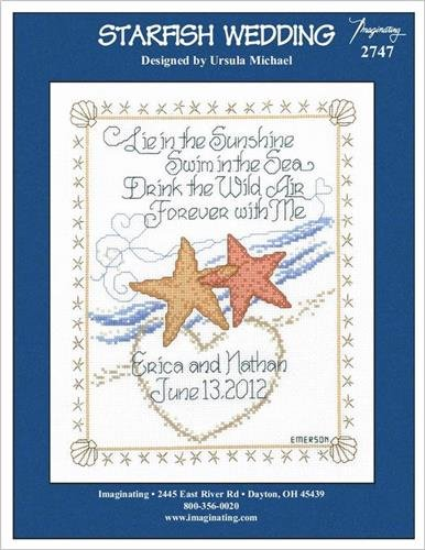 Starfish Wedding Cross Stitch Kit - 14ct White Aida and Free Embellishment