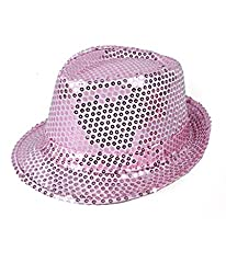 Solid Pink Color Sequins Fedora Hat