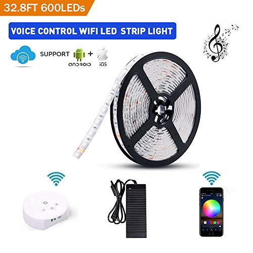 Sanwo WiFi LED Lights Strip Kit, Wireless Remote Controller, 24V Power Adapter, 32.8ft 600LEDS 5050 RGB Waterproof IP65 Strip Light, Rope Lights Fixing Clips, Support for Android, iOS and Alexa
