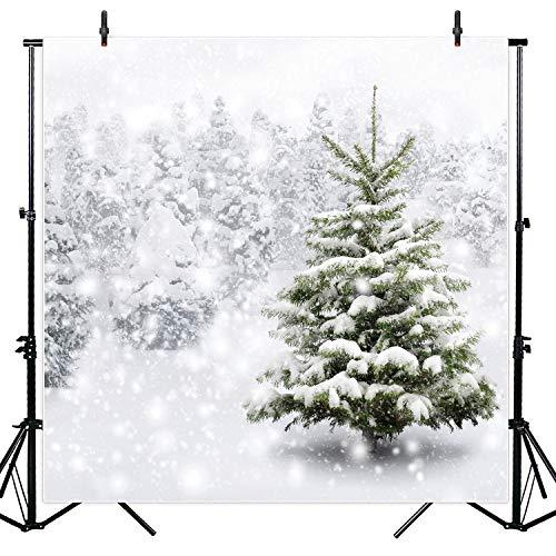 Allenjoy 8x8ft Nature Winter White Snow Wonderland Christmas Pine Photography Backdrop Studio Props Snowflake Tree Xmas Eve...