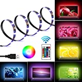 LED TV Backlight Bias Lighting Kits for HDTV Remote Control, USB Powered RGB Multi Color Led Light Strip Home Theater Accent Lighting Kits 3 Strips in 1 Set, 16 Colors