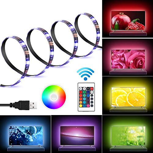 Bias Lighting for HDTV USB Powered TV Backlighting Home Theater Accent lighting, Kohree 35.4 Led Strip Light Multi Color RGB (Reduce eye fatigue and increase image clarity)