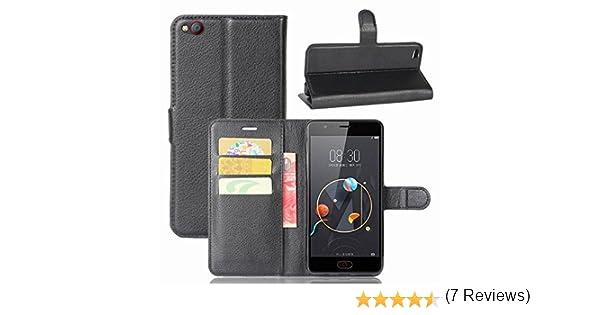Guran® Funda de Cuero PU Para ZTE Nubia M2 Lite Smartphone Función de Soporte con Ranura para Tarjetas Flip Case Cover Caso-negro