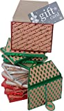 Gift card holder, kraft envelope box with elastic and tag, assorted christmas designs in assorted colors, pack of 16 boxes