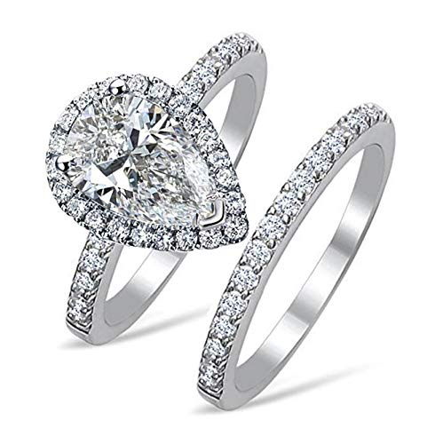 Venetia Top Grade 2 Carats Realistic Super Brilliant NSCD Simulated Diamond Tear Drop Pear Shape Ring Band Set Solid 925 Silver Platinm Halo Pave Gorgeous Fire ()