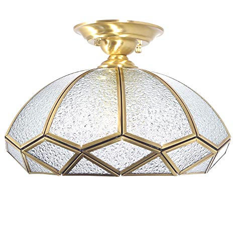 Lovefindahome Arch Close-to-Ceiling Fixture with Bound Beveled Diamond Glass, Polished Brass
