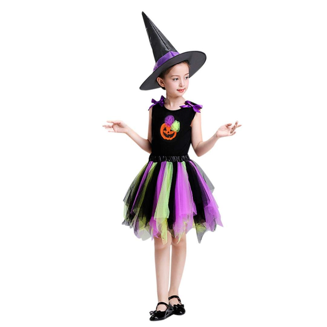 2-10T Baby Girls Halloween Costume Gifts Cartoon Pumpkin Dance Tutu Skirt Tops Hat 3pcs Clothes Set Party Dress up (Purple, 6T)