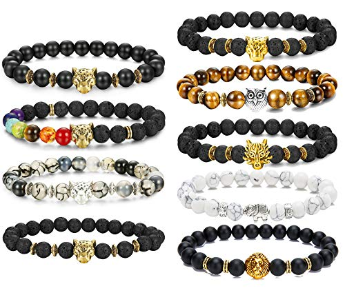 FIBO STEEL 9 Pcs Lava Rock Stone Bead Bracelet for Men Women Leopard Head Bracelet Set Adjustable,8MM Stone (2: 9 Pcs) ()