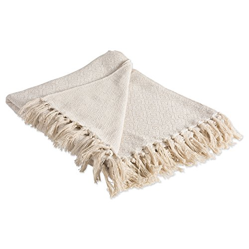 DII Rustic Farmhouse Cotton Diamond Blanket Throw with Fringe For Chair, Couch, Picnic, Camping, Beach, & Everyday Use , 50 x 60