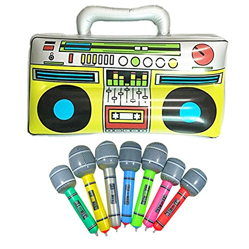 "GuassLee 16"" Party Inflatable Boom Box PVC Radio + 2 Microphones Inflatable Props 80s Party Decorations -"
