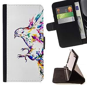 Momo Phone Case / Flip Funda de Cuero Case Cover - Pintura de la acuarela del pájaro colorido Flying Eagle - Huawei Ascend P8 (Not for P8 Lite)