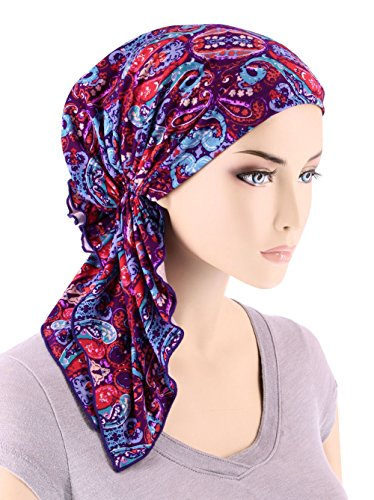 The Bella Scarf Chemo Turban Head Scarves Pre-Tied Bandana For Cancer Purple Modern Damask