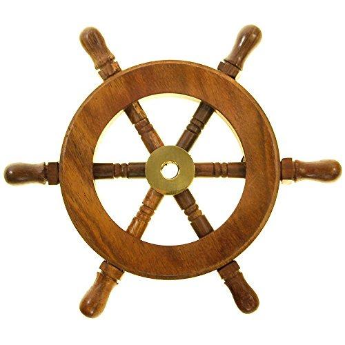 TUP THE URBAN PORT NAU-SH8758 Nautical Wood and Brass Decorative Ship Wheel