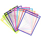 Penck 30 Pack Reusable Dry Erase Pockets, 10 X 13 inches Oversized, Assorted Colors, for Teacher Lessons in a Classroom or for Use at Your Home or Office