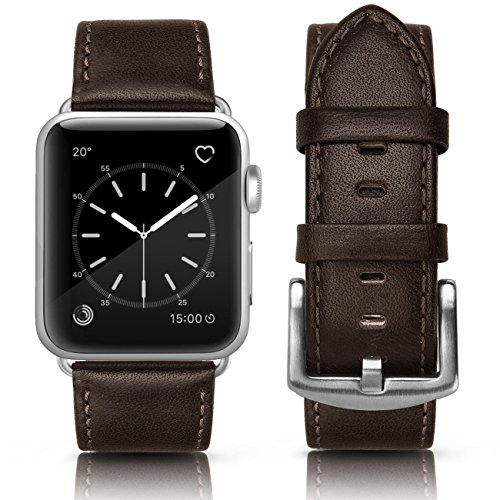 SWEES for Apple Watch Band 42mm Leather, iWatch Genuine Leather Bands Vintage Strap Wristband with Stainless Steel Buckle for Apple Watch Series 3, Series 2, Series 1, Sports & Edition Men, Dark Brown (Dark Brown Leather Band)