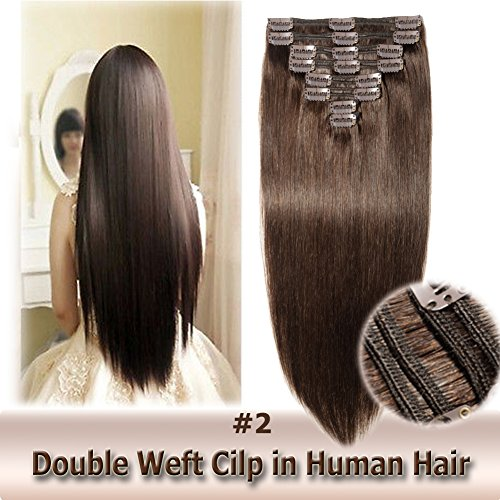 Double Weft Clip in Human Hair Extensions 12 Inch 115g 8pcs 18 clips on 8A Grade Soft Straight 100% Remy Hair (Dark Brown #2,12'') (For Irons Inch Flat 12 Hair)