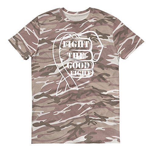 Fight The Good Fight Ribbon Awareness Short-Sleeved Camouflage t-Shirt