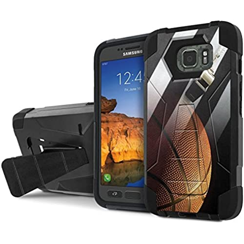AT&T [Galaxy S7 Active] Armor Case [NakedShield] [Black/Black] Tough ShockProof [Kickstand] Phone Case - [Basketball Sales