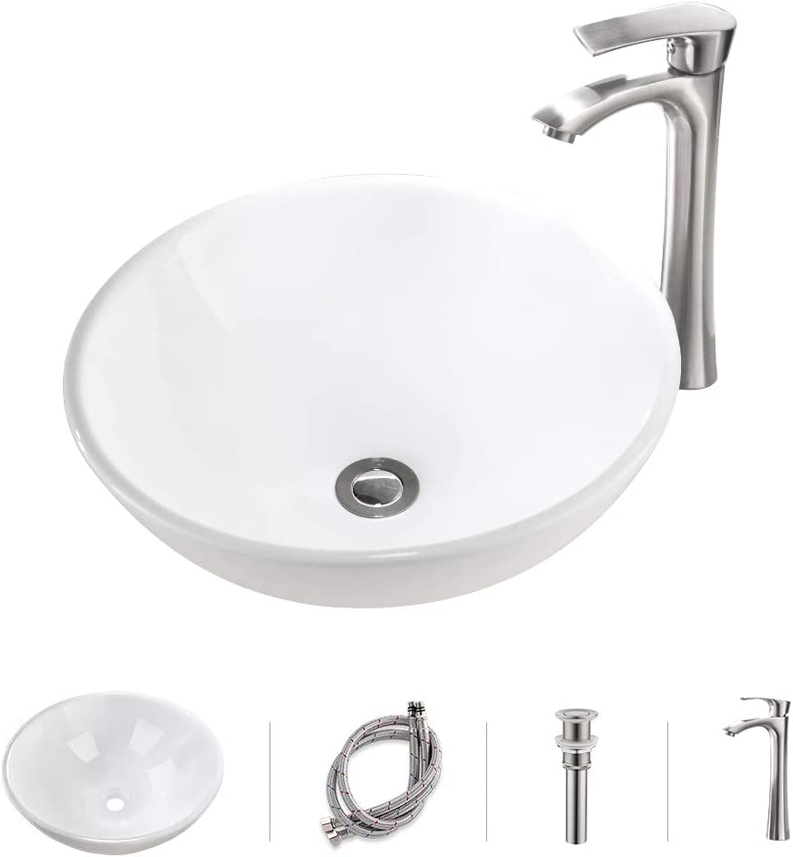 VOKIM 16.9 x16.9 x6.7 Bathroom Vessel Sink and Faucet Combo Modern Porcelain Above Counter White Round Ceramic Bathroom Vessel Sink Brushed Nickel Single Lever Faucet Matching Pop Up Drain Combo
