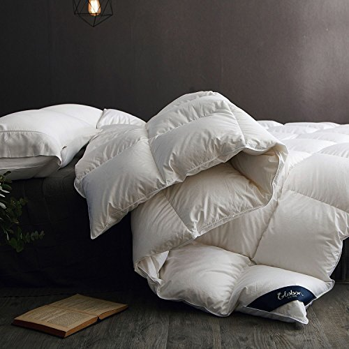 Globon Fusion White Goose Down Comforter King, Heavywarmth Winter, 60OZ, 650 Fill Power, 100% Cotton Shell, 300 Thread Count, Hypoallergenic with Corner Tabs, White