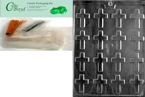 Cybrtrayd Bite Size Crosses Chocolate Candy Mold with Chocolate Packaging Bundle, Includes 50 Cello Bags, 50 Gold/Silver Twist Ties and Exclusive Cybrtrayd Copyrighted Chocolate Molding - Candy Molds Religious