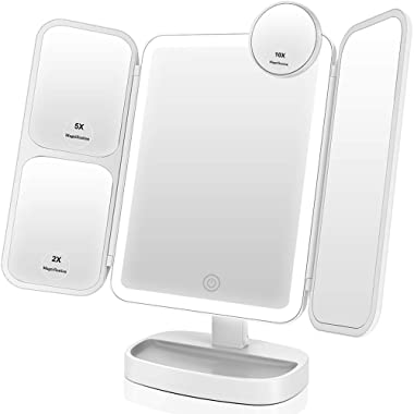 EASEHOLD Makeup Vanity Mirror with 1000LUX Bright LEDs Soft Natural 1X/2X/5X/10X Magnifying Ultra-Thin Stable Base Portable 180 and 90 Rotation Touch Screen Dual Power Supply Upgraded Version III