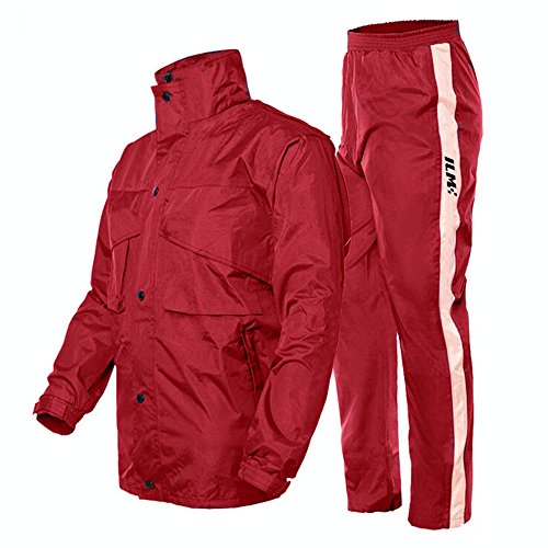 ILM Motorcycle Rain Suit - Two Piece Rain Gear with Jacket and Pants for Women and Men (M, RED)