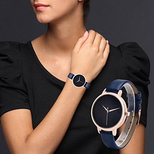 J.Market Quartz Watch Womens 30 Meters Waterproof Watch Creative Starlight Dial with Genuine Leather Band (Black)