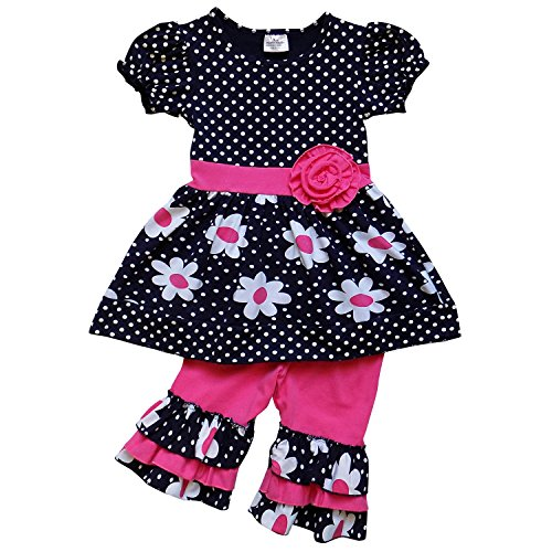 So Sydney Girls Toddler 2-4 Pc Novelty Spring Summer Top Capri Set Accessories (XXXL (8), Ruffle Polka Dot Daisy)
