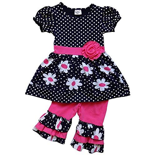So Sydney Girls Toddler 2-4 Pc Novelty Spring Summer Top Capri Set Accessories (XS (2T), Ruffle Polka Dot Daisy)