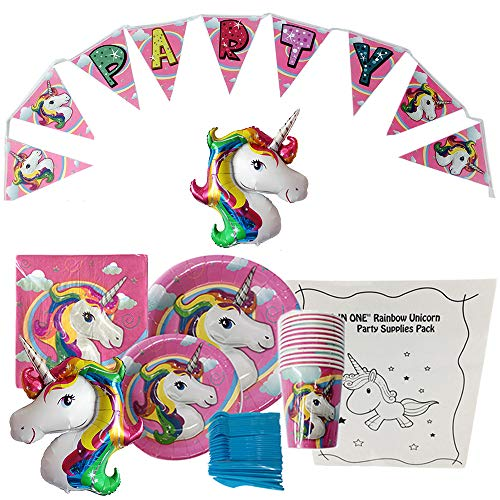 Unicorn Party Supplies Pack, Pink Birthday Party Set for 12- includes Dinner & Dessert Plates, Cups, Napkins, Banner, Plastic Forks, Spoons, Knives & Large Unicorn Balloon