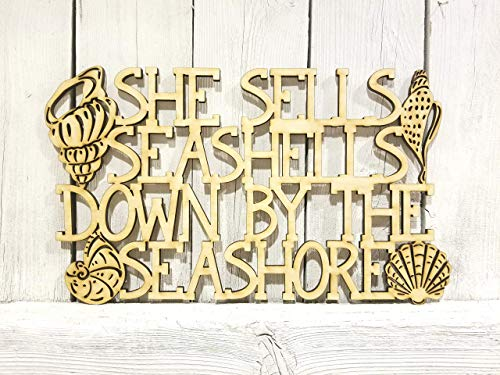 (She Sells Seashells Down by the Seashore - laser wood cut sign)