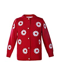 Pettigirl Girl's Embroidery Sweater Floral Crewneck Knit Cardigan