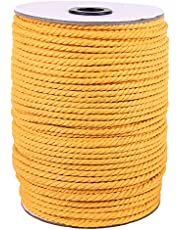 XKDOUS Macrame Cord Natural Cotton Macrame Rope, Twisted Cotton Cord for Wall Hanging, Plant Hangers, Crafts, Knitting, Decorative Projects, Soft Undyed Cotton Rope
