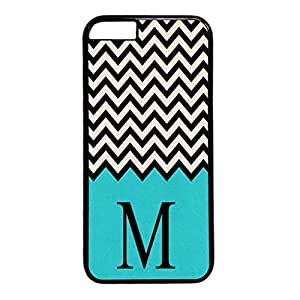 iPhone 5C Case, iCustomonline Flannel Chevron Green White Designs Soft TPU Case for iPhone 5C Black