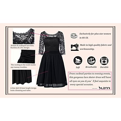 c6ab34c284b0f DILANNI Women s Vintage Formal Floral Lace 3 4 Sleeve Cocktail Party Tube  Dress