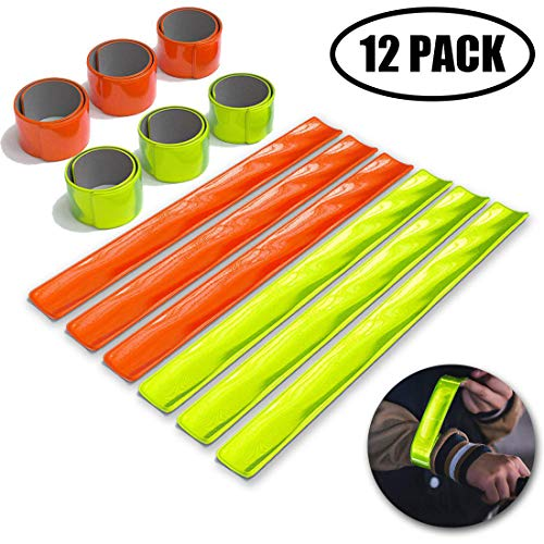 jeeri 12 Pieces Reflektorbänder Schnapparmband Reflektor Fahrrad Reflektoren schnapparmband Kinder für Kinder, Erwachsene, Jungen und Mädchen im Set zum Fahrrad Fahren, Laufen oder Joggen